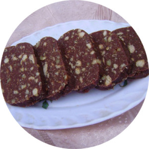 Рецепт колбасы из печенья и какао